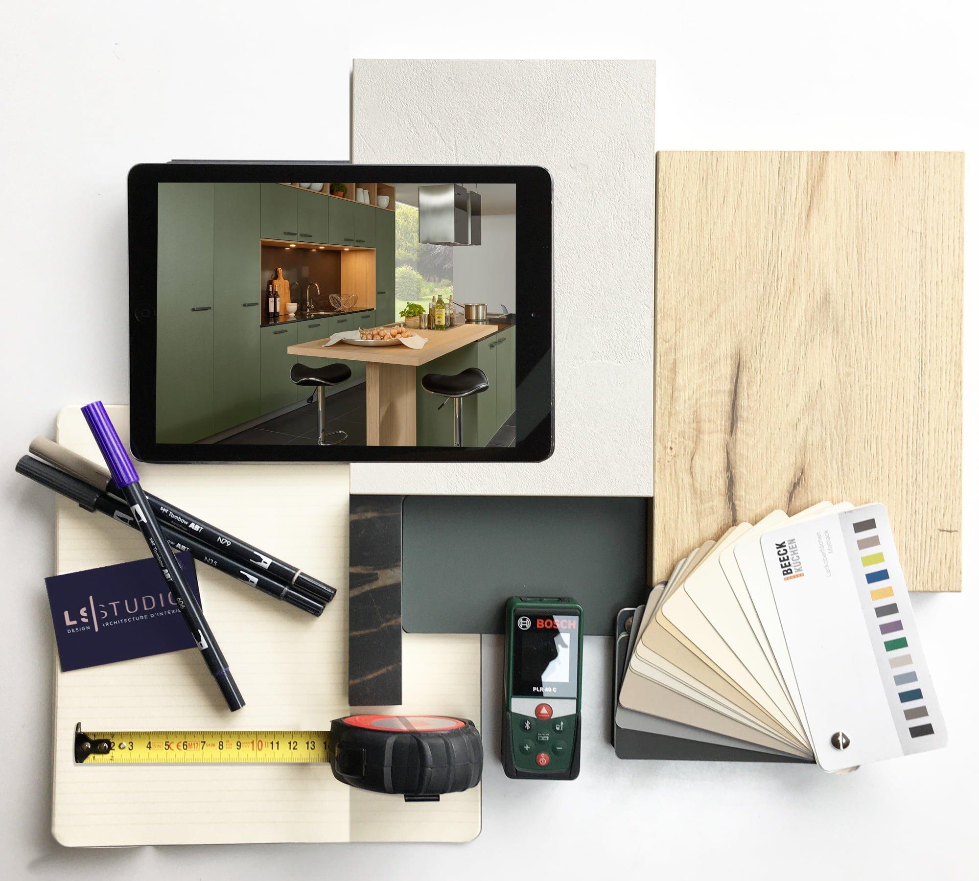 planche de croquis et matériaux ls studio architecte intérieur vannes