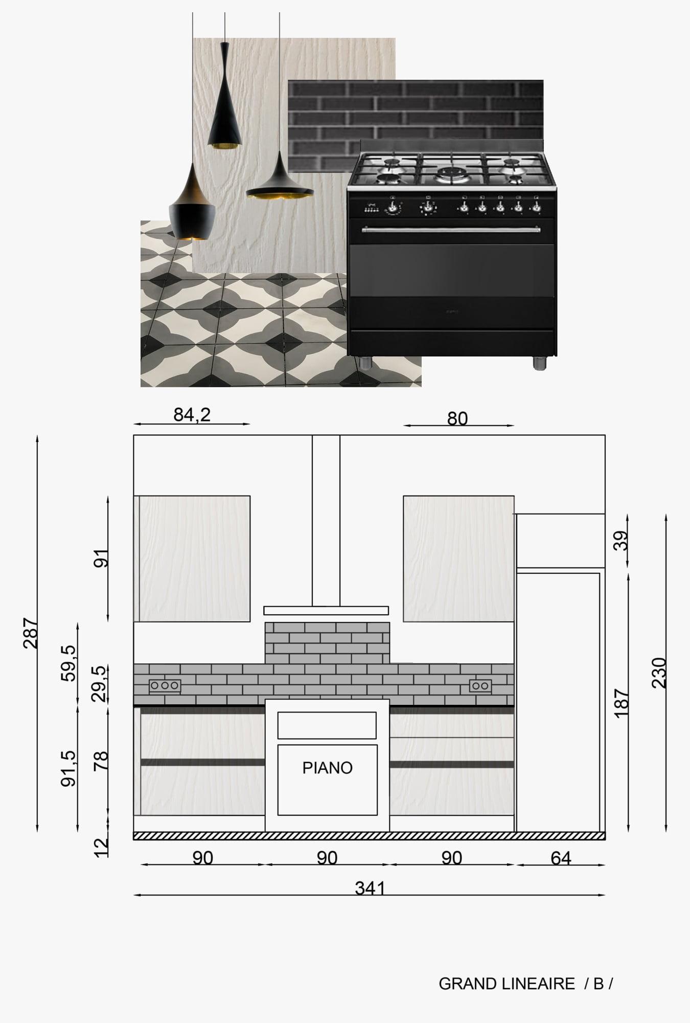 plan et planche d'inspiration projet cuisine ls studio architecte intérieur vannes