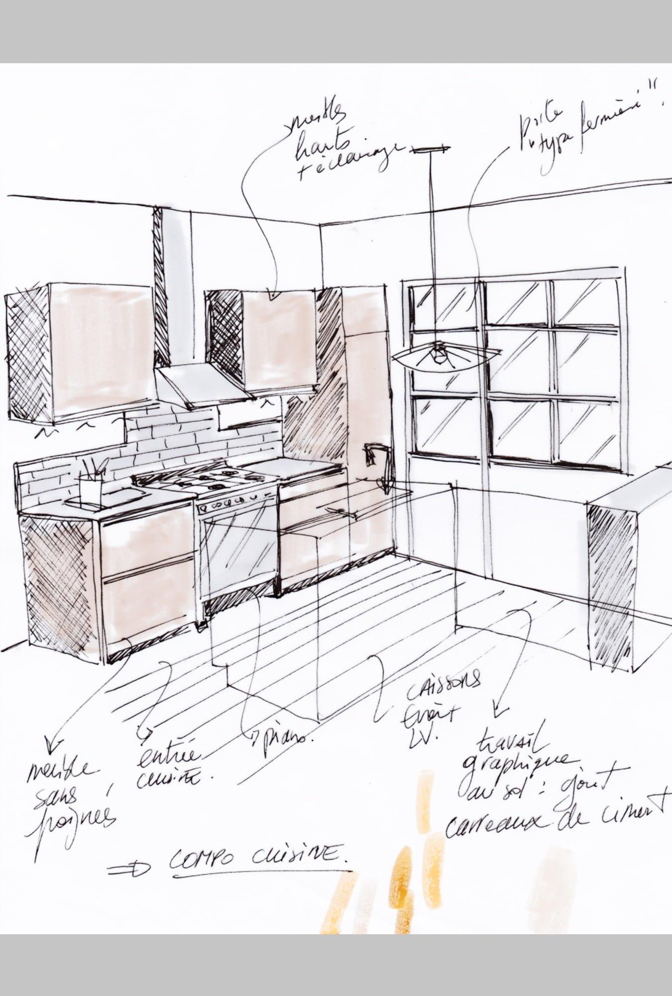 croquis projet cuisine 3D ls studio architecte intérieur vannes