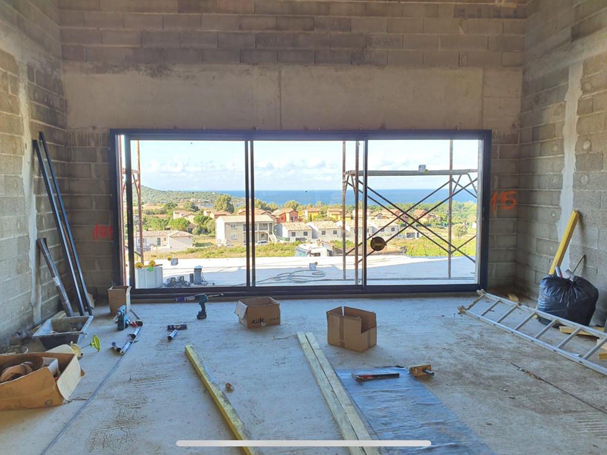 chantier salon maison en corse ls studio architecte intérieur vannes