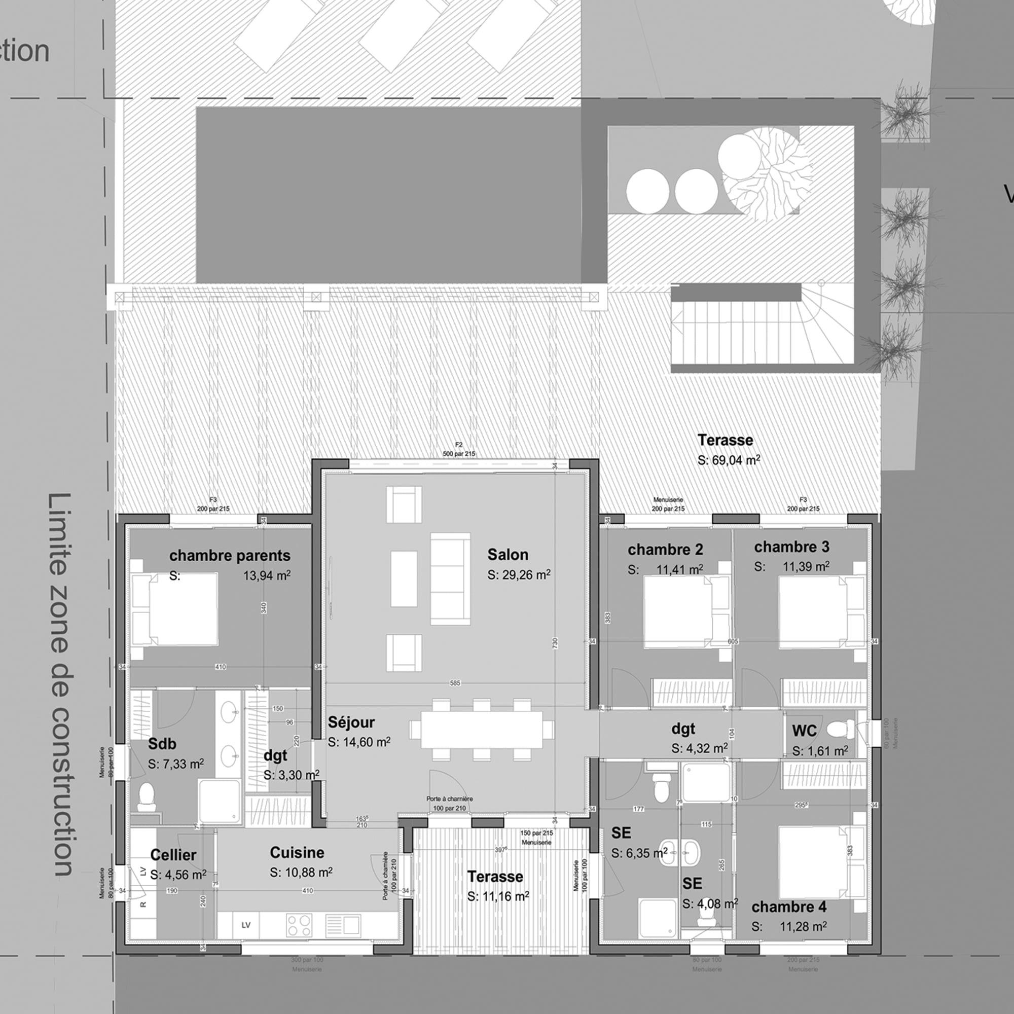 Plan projet maison corse ls studio architecte intérieur vannes