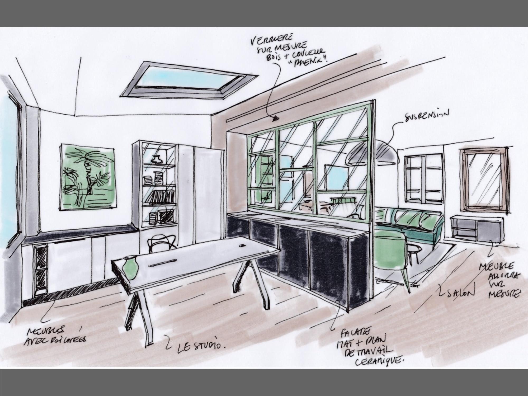 croquis dessin showroom mise en couleurs ls studio architecte intérieur vannes