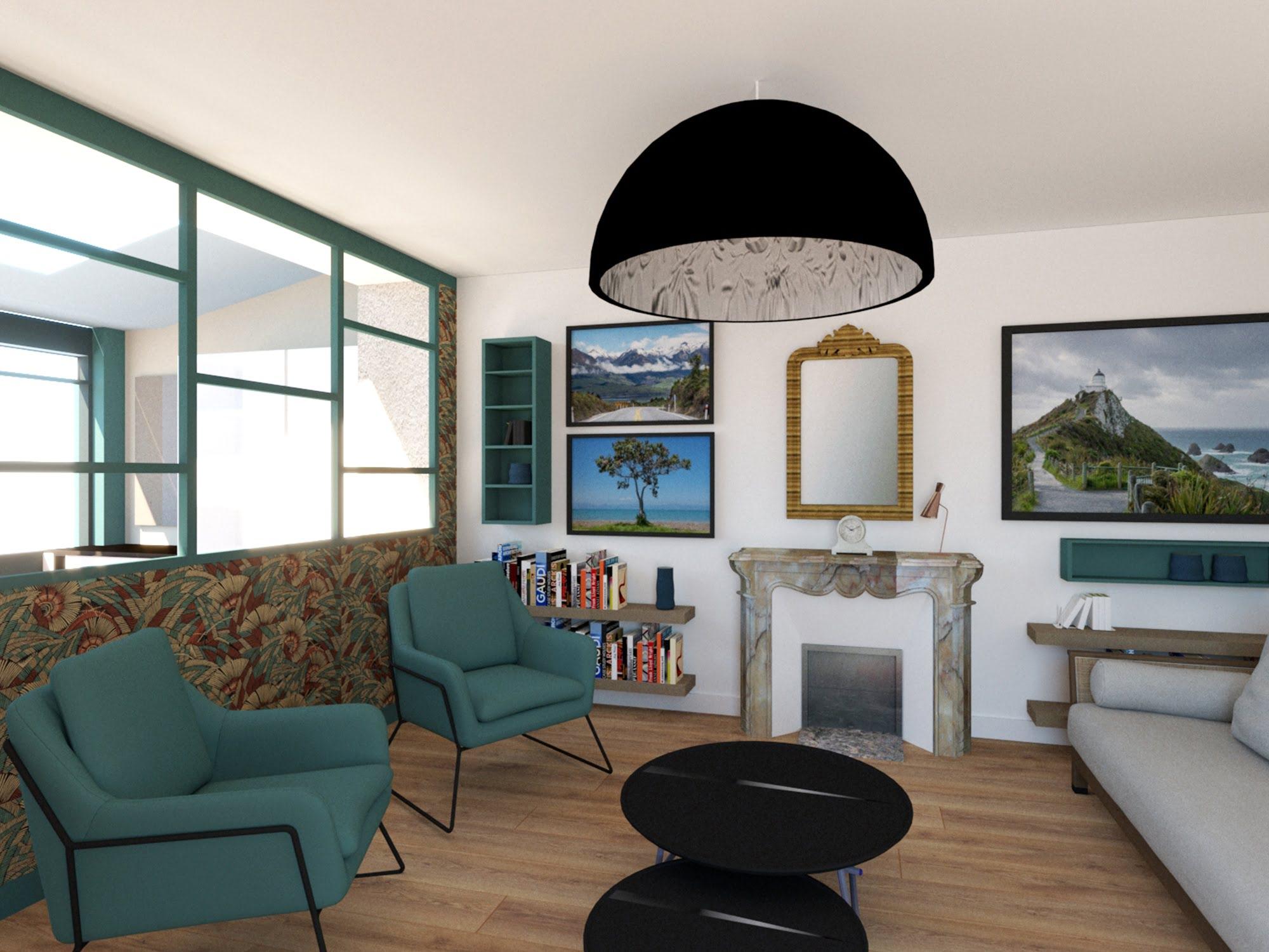 intérieur salon showroom 3D ls studio architecte intérieur vannes