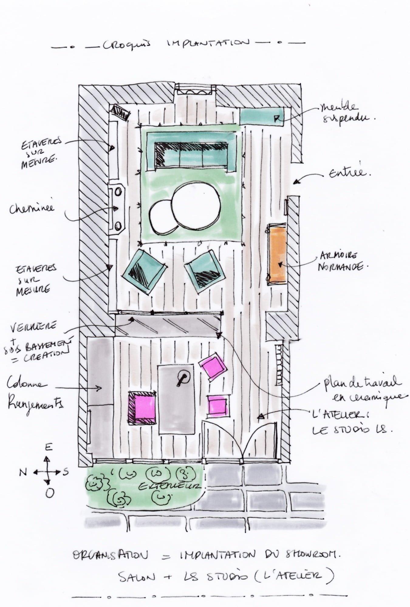 plan croquis implantation dessin showroom ls studio architecte intérieur vannes
