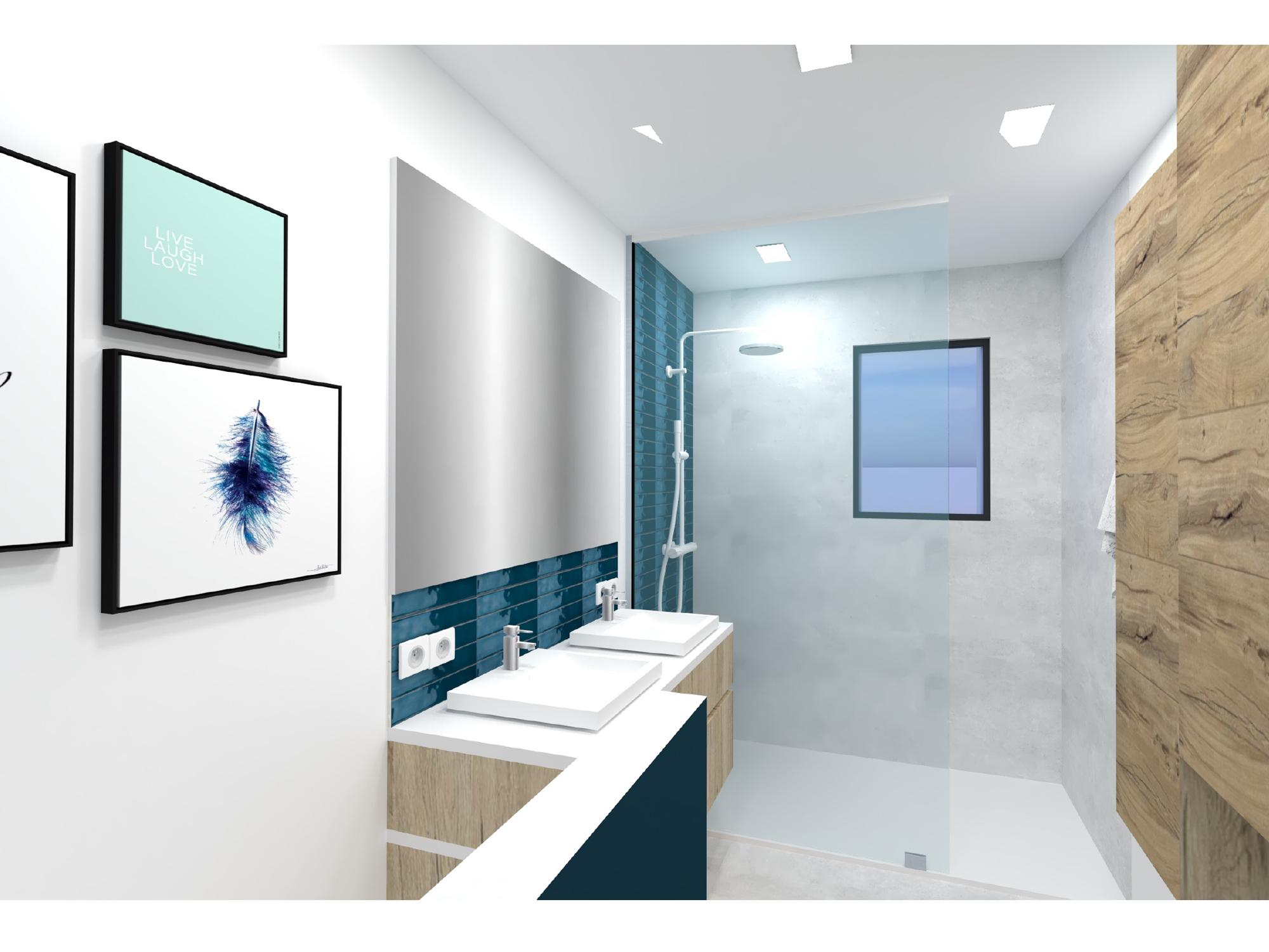 3D agencement salle de bain validée création interieur architecte