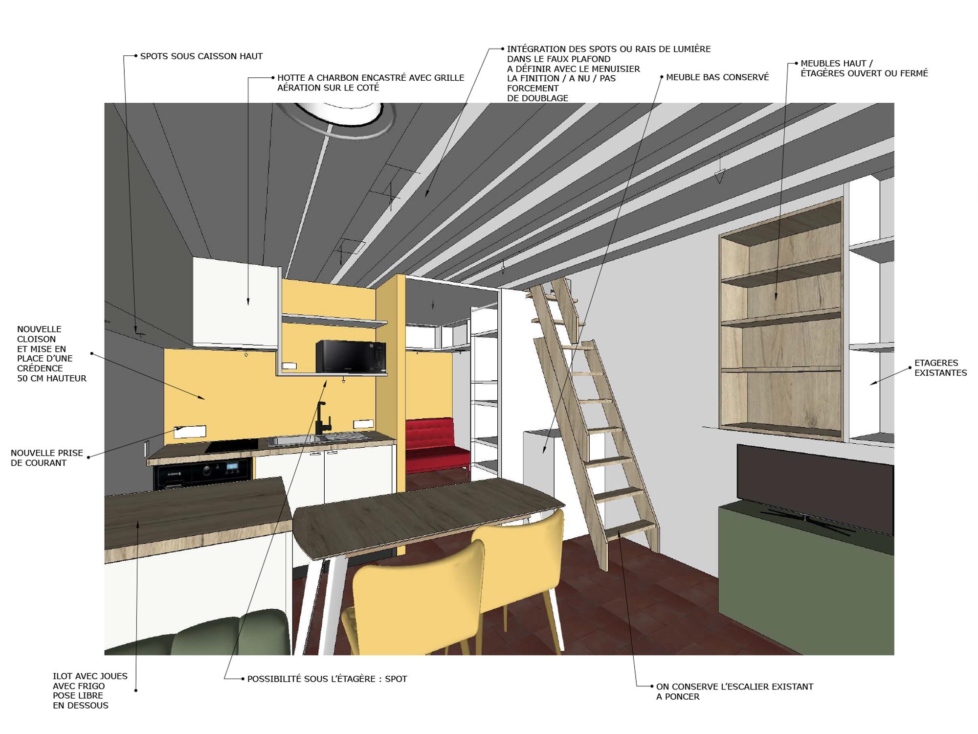intérieur agencement privé 3D et détails
