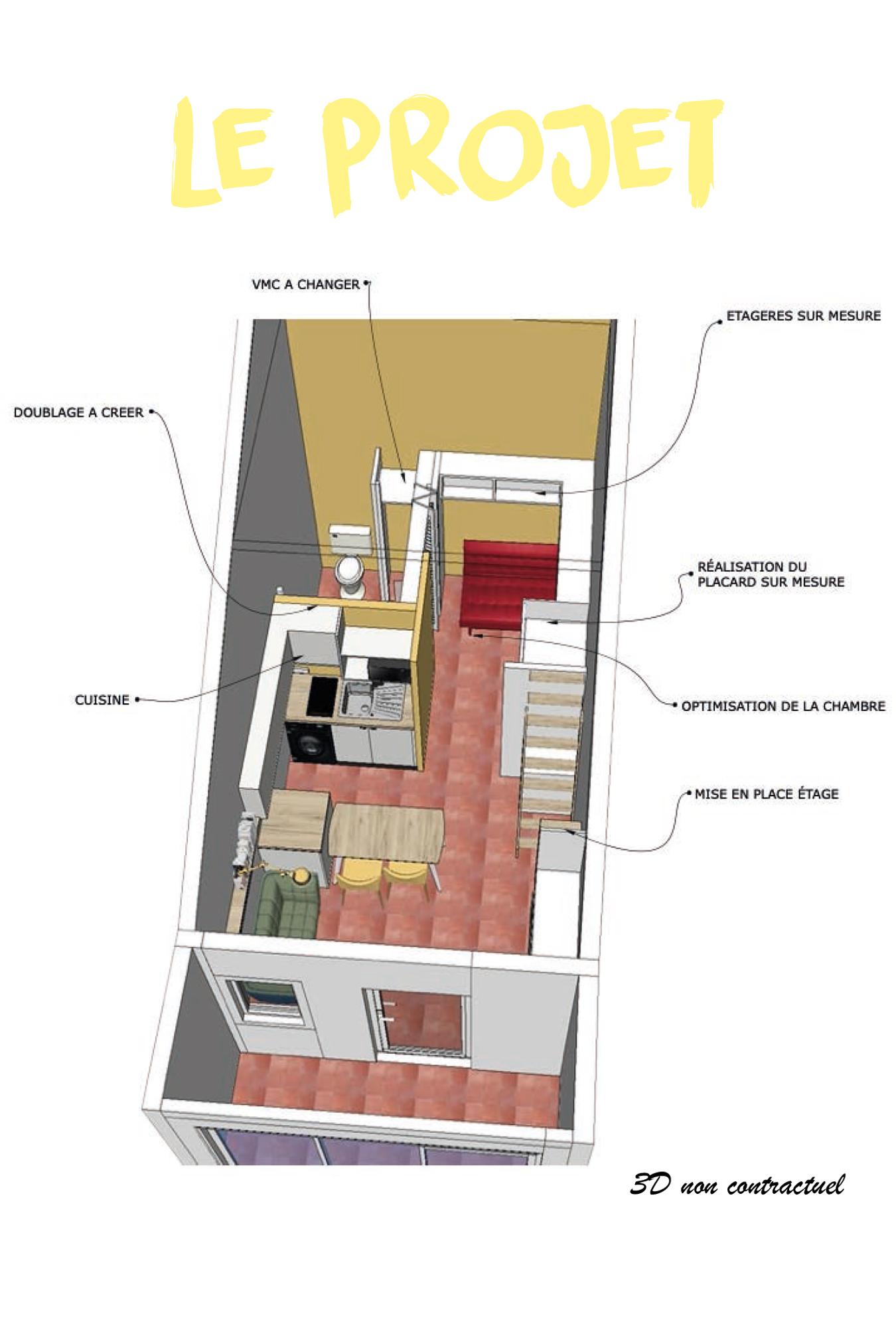 intérieur agencement privé projet 3D implantation projet
